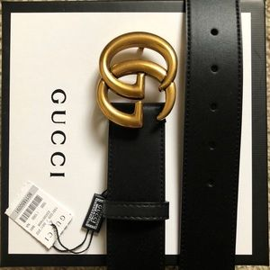 New Gucci GG Leather Double G Belt Gold Smooth V11